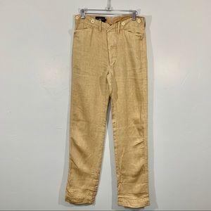 Ralph Lauren | Tan Linen Straight Leg Pants